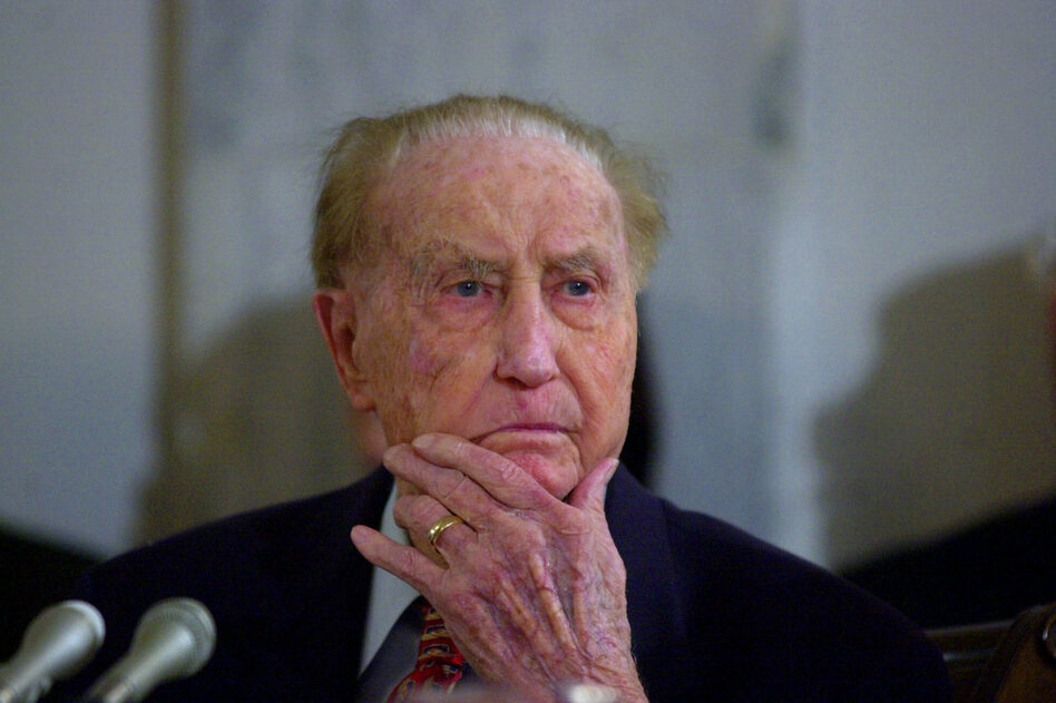 Sen. Strom Thurmond, R-S.C., attends a Senate Veterans Affairs Committee hearing in 2001, when he was 98. He died in 2003 at age 100.  (AP)