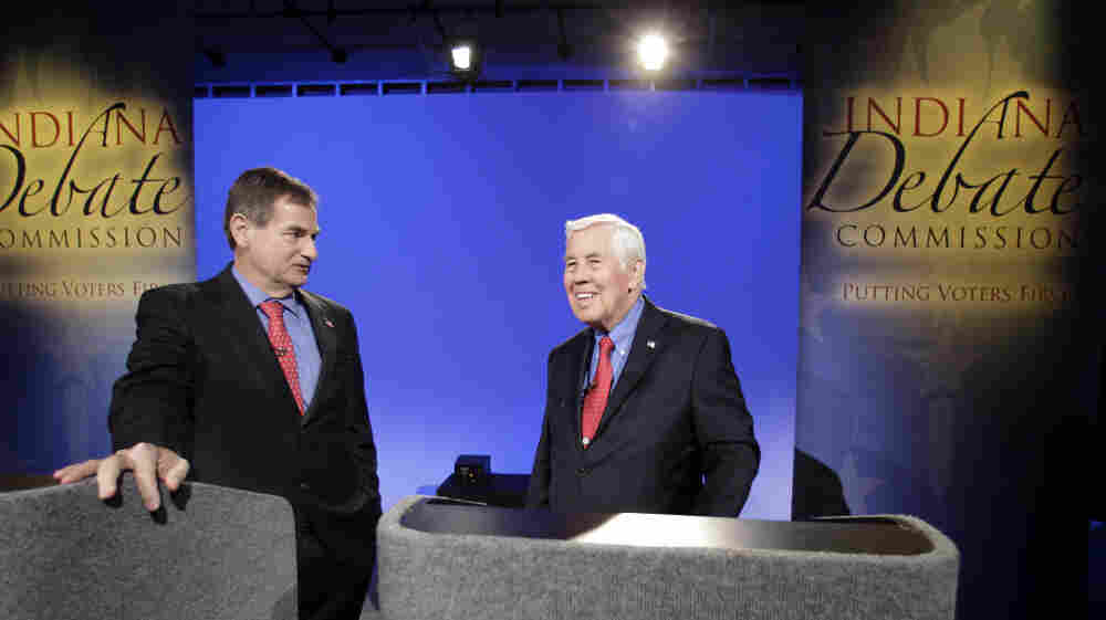 Republican Sen. Richard Lugar (right) and state Treasurer Richard Mourdock participate in an April 11 debate in Indianapolis.