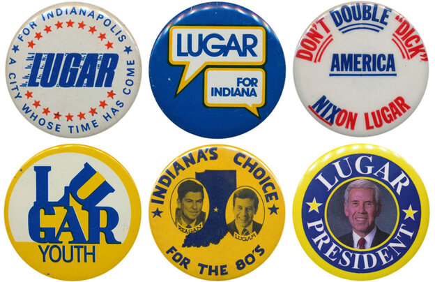 """Lugar's career in buttons: (1) first elected mayor of Indianapolis in 1967; (2) challenged Sen. Birch Bayh in 1974, but (3) running in a year when Watergate put Republicans on the defensive, and tarred as """"Richard Nixon's favorite mayor,"""" he lost; (4) came back in 1976 and trounced Sen. Vance Hartke; (5) was a VP hopeful in 1980; (6) made a brief bid for the GOP presidential nomination in 1996."""