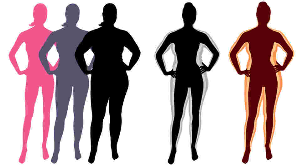 A changing silhouette shows how a woman's weight could change over time.