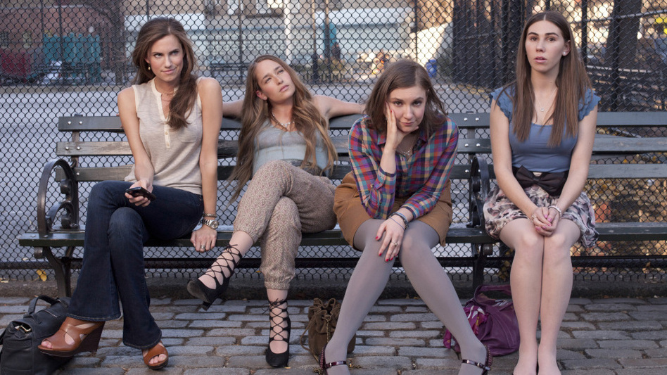 <em>Girls</em> has been compared to <em>Sex and the City. </em>The characters, played by (from left) Allison Williams, Jemima Kirke, Lena Dunham and Zosia Mamet, navigate the ups and downs of life in New York City.