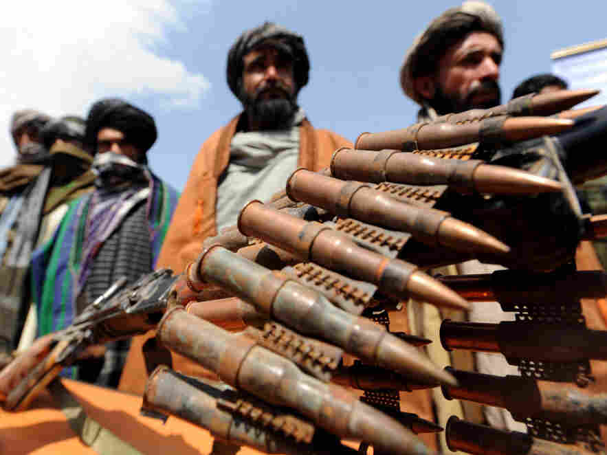 Former Taliban fighters displayed their weapons as they joined Afghan government forces during a ceremony in Herat province last Wednesday ( May 2, 2012).