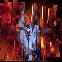 Brünnhilde (center) is surrounded by fire at the end of Wagner's Die Walküre -- part of the Met's current Ring cycle, produced by Robert Lepage.