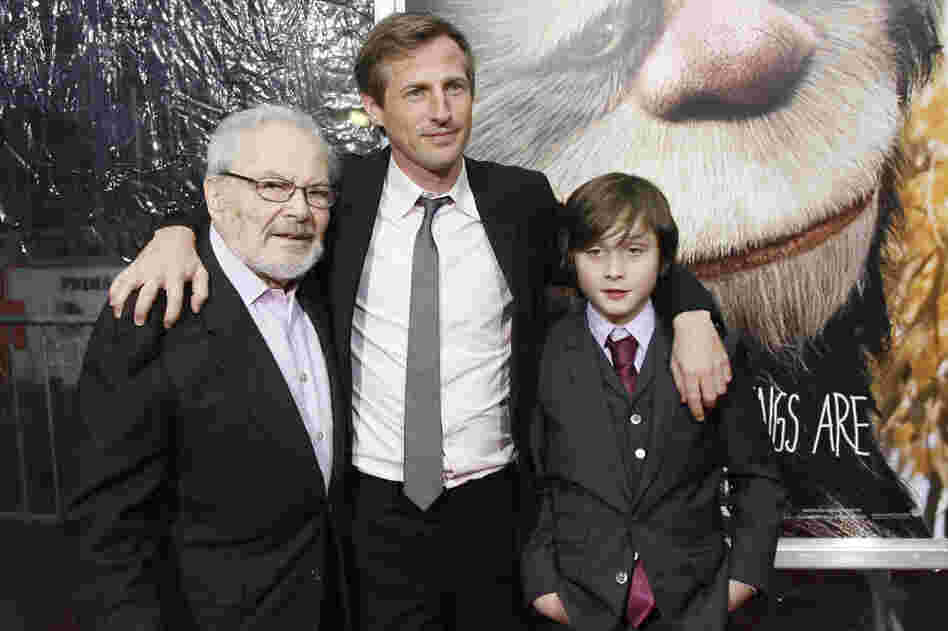 Sendak (from left), film director Spike Jonze and actor Max Records pose at the New York premiere of the film  Where The Wild Things Are in 2009.