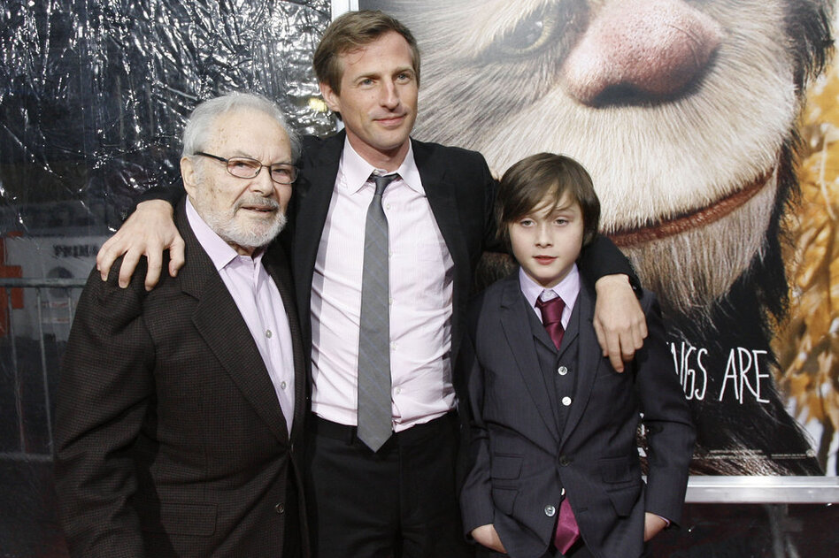 Sendak (from left), film director Spike Jonze and actor Max Records pose at the New York premiere of the film  Where The Wild Things Are in 2009.  (AP)