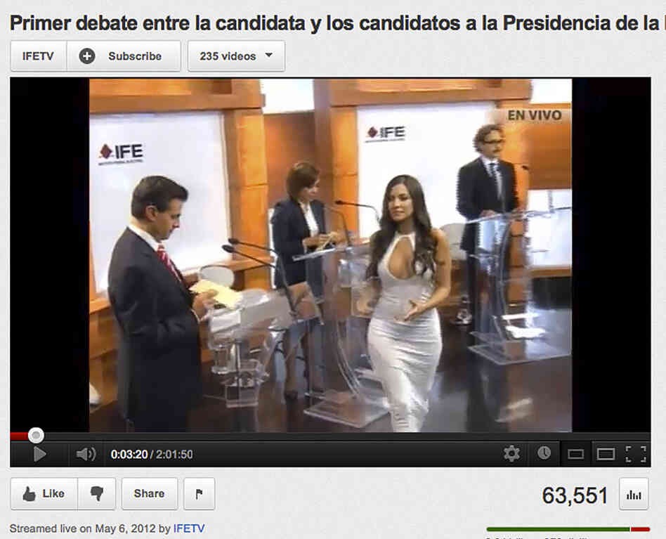 In this screen grab taken from Mexico's Federal Electoral Institute's YouTube channel, Julia Orayen, second from right, carries a box from which candidates will select a speaking order.