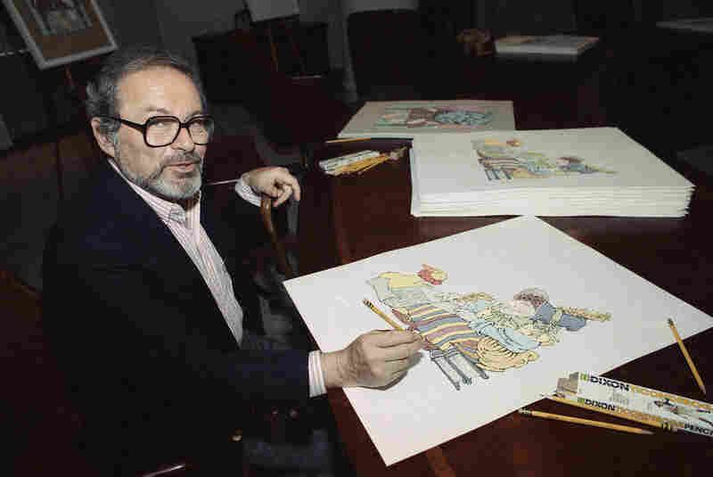 Sendak signs prints from The Mother Goose Collection in July 1990 — part of a benefit for homeless children in New York City.