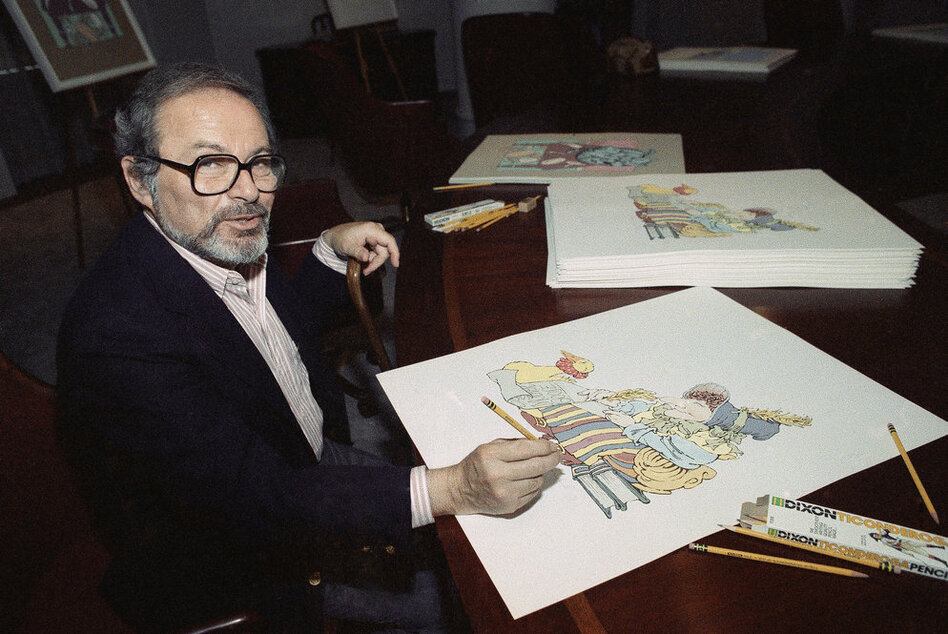 Sendak signs prints from The Mother Goose Collection in July 1990 — part of a benefit for homeless children in New York City.  (AP)