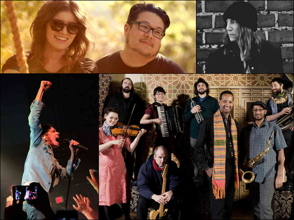 Clockwise from top left: Best Coast, Patti Smith, Debo Band, fun.