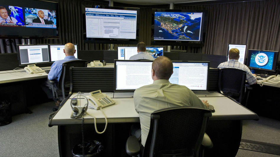 Cybersecurity analysts work in the watch and warning center during the first tour of the government's secretive cyberdefense lab intended to protect the nation's power, water and chemical plants, electrical grid and other facilities on Sept. 29, 2011, in Idaho Falls, Idaho. (AP)