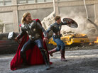 Thor (Chris Hemsworth, left) and Captain America (Chris Evans) join up with Iron Man and the Hulk to save the Earth in The Avengers.