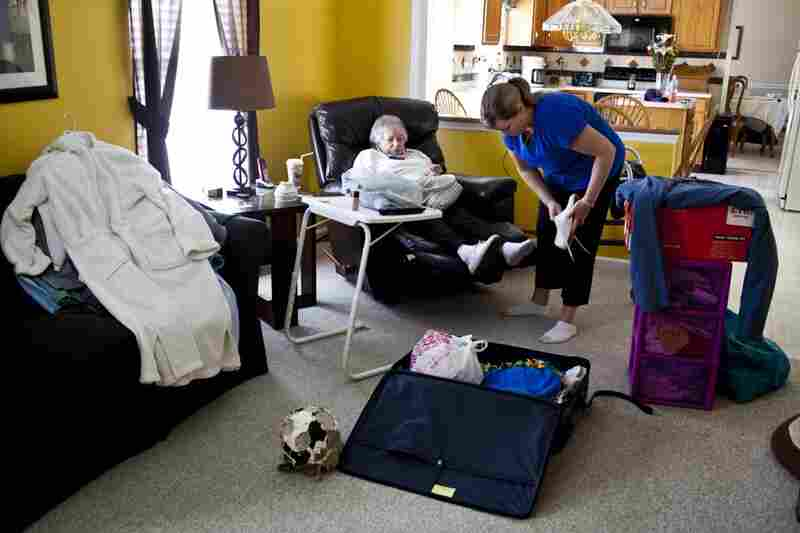 Every two weeks AnnaBelle rotates from one home to another. After two years of moving her back and forth, LaDonna and Kelley have fine-tuned their routine but still fill an SUV with AnnaBelle's necessities.