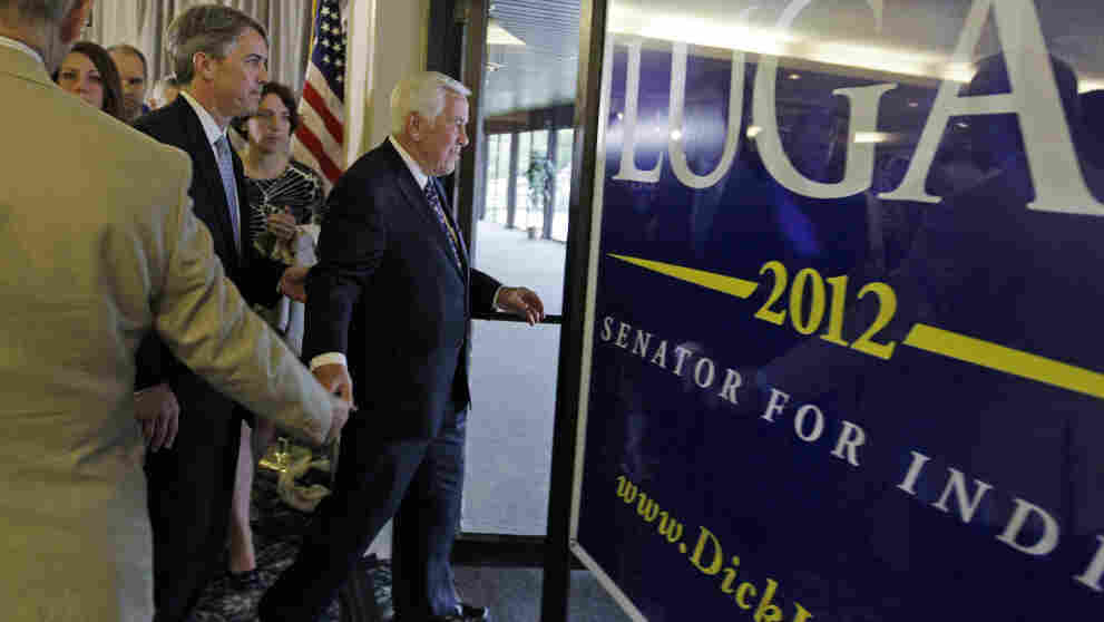 Sen. Richard Lugar leaves after giving his concession speech Tuesday night in Indianapolis. Lugar lost the Republican Senate primary to state Treasurer Richard Mourdock.