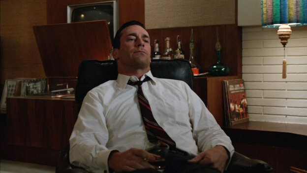"Don Draper (Jon Hamm) tries to relax as The Beatles' ""Tomorrow Never Knows"" plays on the stereo at the end of the latest episode of Mad Men."