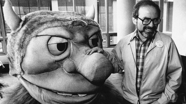 In this Sept. 25, 1985 file photo, author Maurice Sendak poses with one of the characters from his book Where the Wild Things Are, designed for the operatic adaptation of his book in St. Paul, Minn. Sendak died, Tuesday, May 8, 2012 at Danbury Hospital in Danbury, Conn. He was 83. (AP)