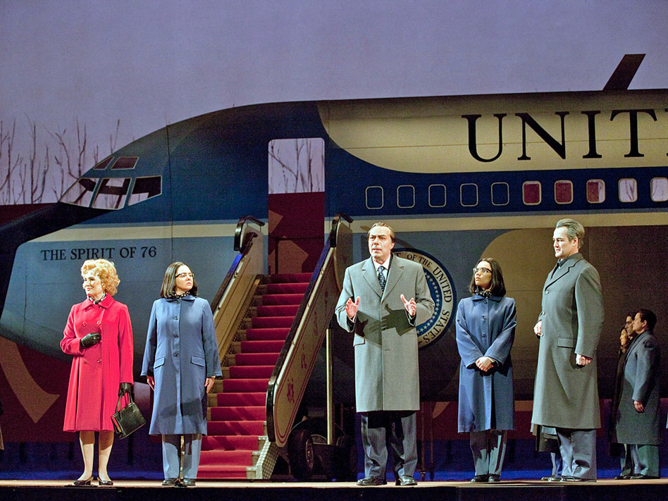 John Adams' <em>Nixon in China</em>, produced at the Metropolitan Opera in January 2011. Left to right: Janis Kelly as Pat Nixon, Teresa S. Herold as the Second Secretary to Mao, James Maddalena as Richard Nixon, Ginger Costa Jackson as the First Secretary to Mao, Russell Braun as Chou En-lai.
