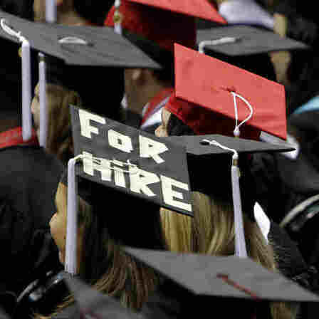 Graduates of the University of Alabama's class of 2011. The economic downturn has hit recent college grads hard. New data show only half of those who graduated from 2006 to 2011 are working full time.