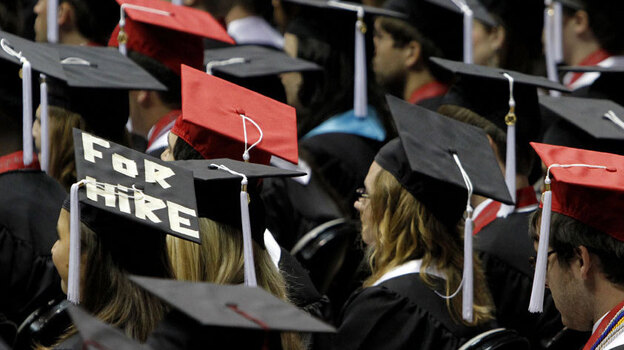 Graduates of the University of Alabama's class of 2011. The economic downturn has hit recent college grads hard. New data show only half of those who graduated from 2006 to 2011 are working full time. (AP)