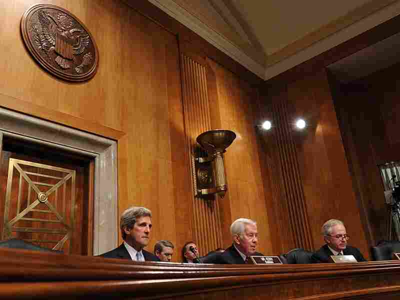 Senators John Kerry, D-Mass., Richard Lugar, R-Ind. and Bob Corker, R-Tenn., conduct a Senate Foreign Relations Committee Full committee hearing on Syria on March 1, 2012 on Capitol Hill. Lugar lost a primary election on Tuesday. It will mean the end of a 36-year long career.