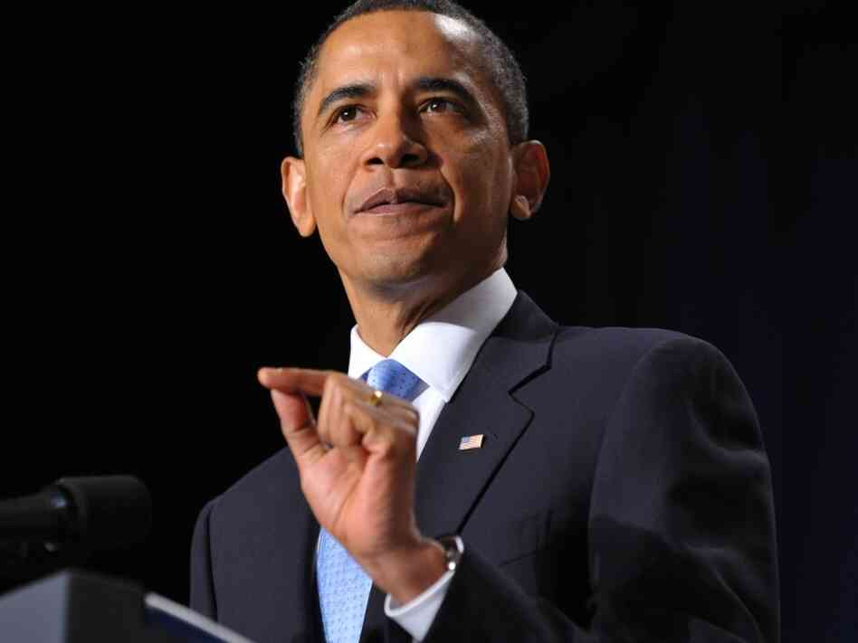 "President Barack Obama speaks during the 58th US National Prayer Breakfast February 4, 2010 where he denounced as 'odious' a proposed anti-gay law in Uganda. The President has famously said that his personal views on gay marriage are ""evolving."""