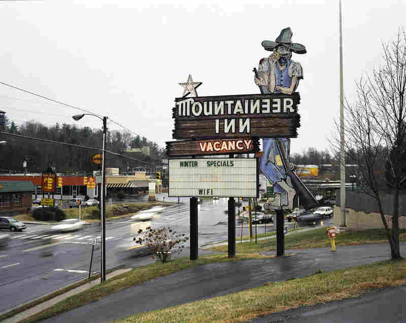 Asheville, N.C., 2008. Hillbillies and bears are popular images at the area hotels.