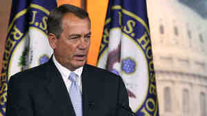 House Speaker John Boehner speaks Thursday at his weekly news conference on Capitol Hill. Boehner spoke on a number of topics but would not comment on gay marriage when asked.