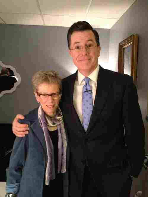Terry Gross with Stephen Colbert before her appearance on his show in January 2012.