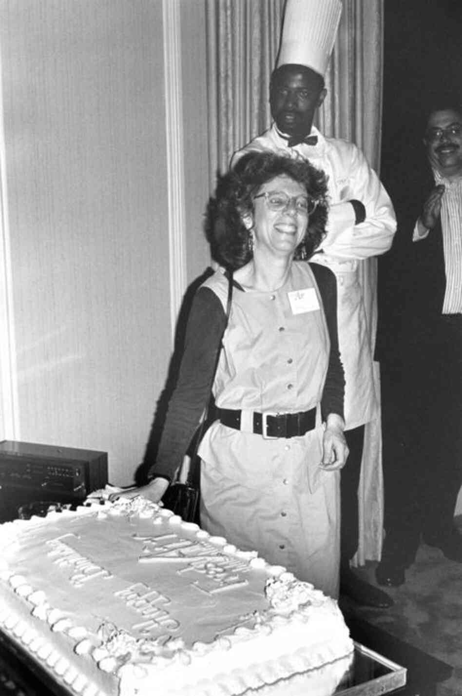Terry Gross and Fresh Air staff celebrating its first anniversary as a national program in 1988.