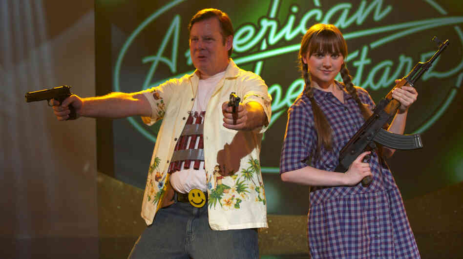 Turning depression and anger at his spiraling personal life outward, Frank (Joel Murray) — with sidekick Roxy (Tara Lynne Barr) — takes literal aim at the crasser forms of American pop culture.