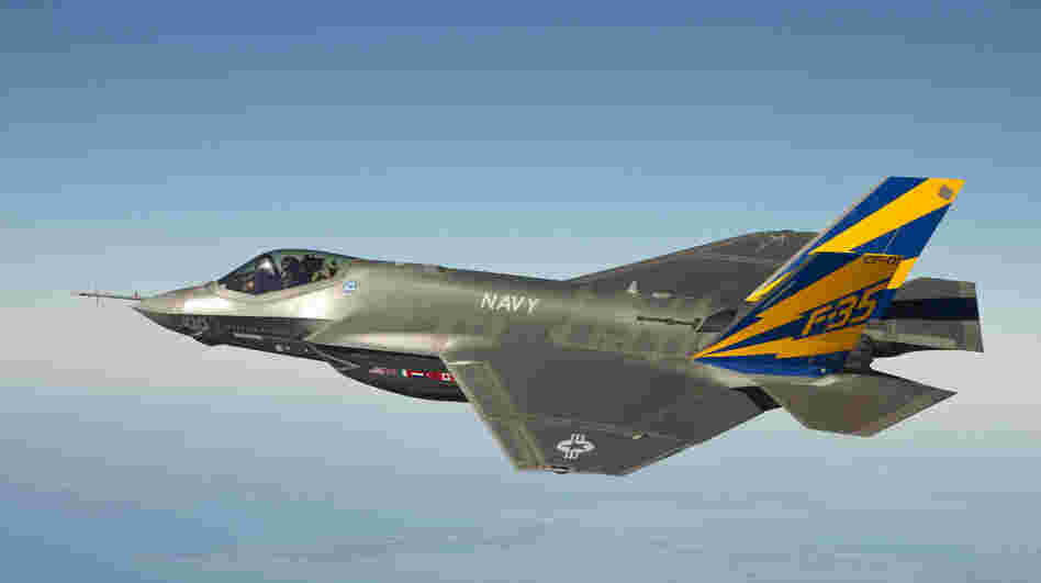 A U.S. Navy variant of the F-35 Joint Strike Fighter, the F-35C, conducts a test flight over the Chesapeake Bay in 2011.