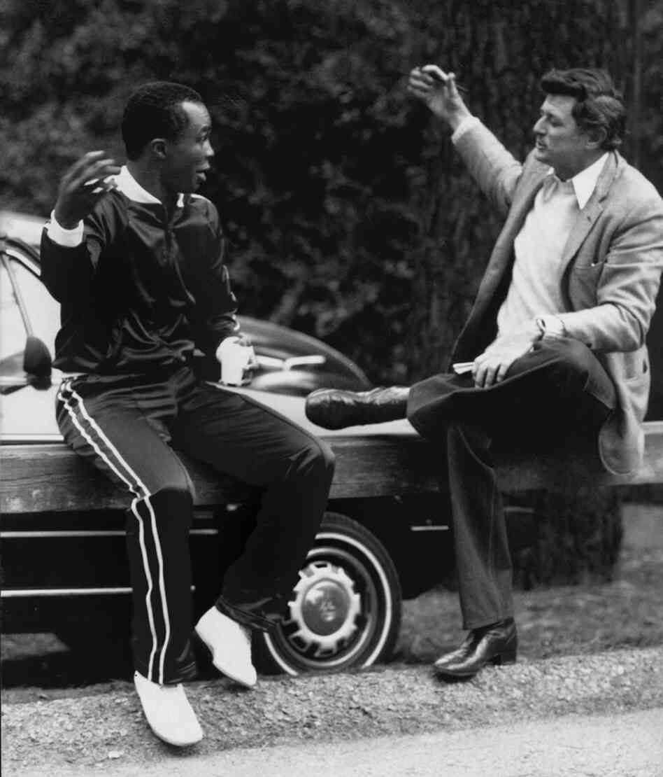 "Sportswriter Frank Deford talks with Sugar Ray Leonard in 1981. ""I was so lucky,"" Deford says. ""The chance that you got in those days to get close to athletes is so much more than the writers get today."""