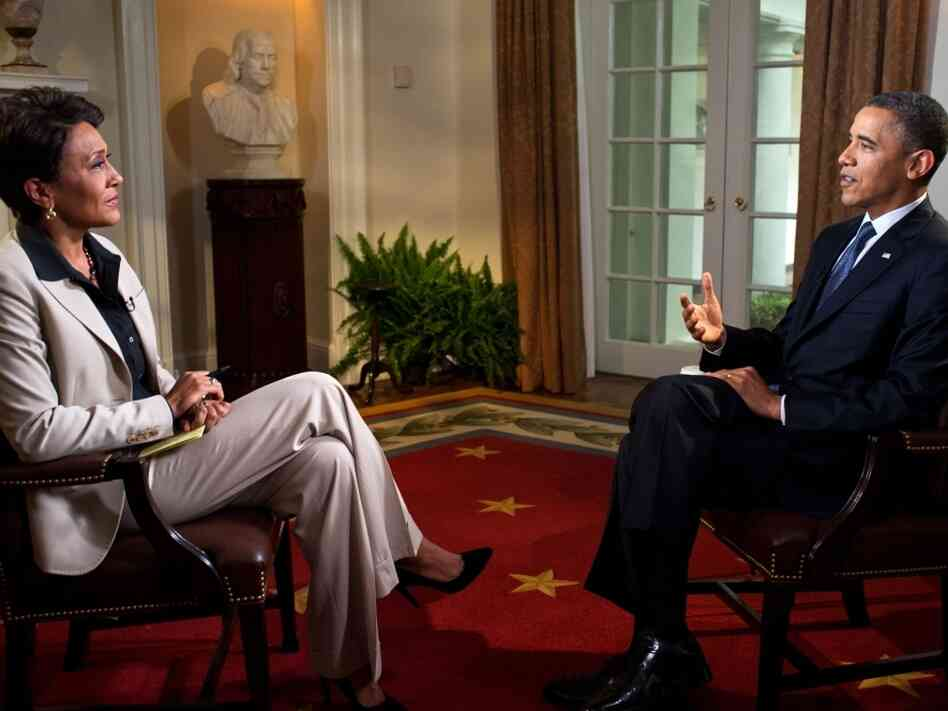 President Barack Obama participates in an interview with Robin Roberts of ABC's Good Morning America, in the Cabinet Room of the White House on May 9, 2012 in Washington, DC. During the interview, President Obama expressed his support for gay marriage, a first for a U.S. president.