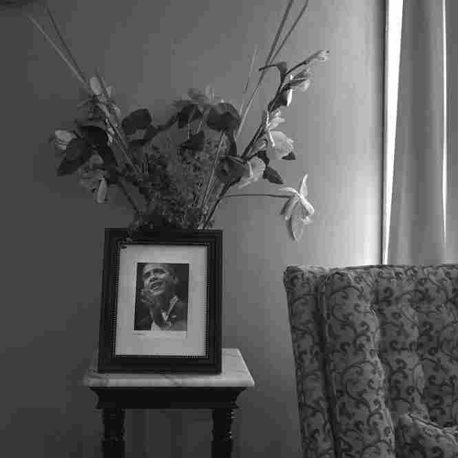 A portrait of President Obama sits on a small table inside the home of Mound Bayou's former postmaster, Columbus Preston Holmes, November 2011.