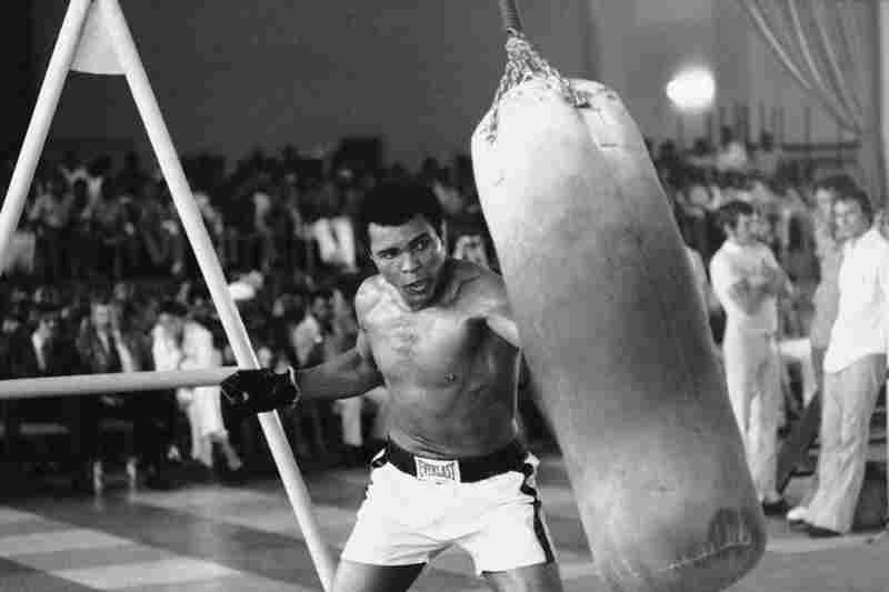 Muhammad Ali works out before his bout against George Foreman in Zaire, October 1974.