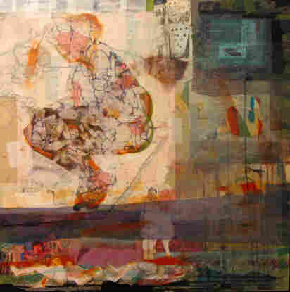 """""""I cared about what was happening around me, so I went to be with the people,"""" says Syrian artist Hiba Akkad. """"Whatever the people were doing, I wanted to be with them."""" Above, Akkad's 2012 mixed media on canvas work, Untitled."""
