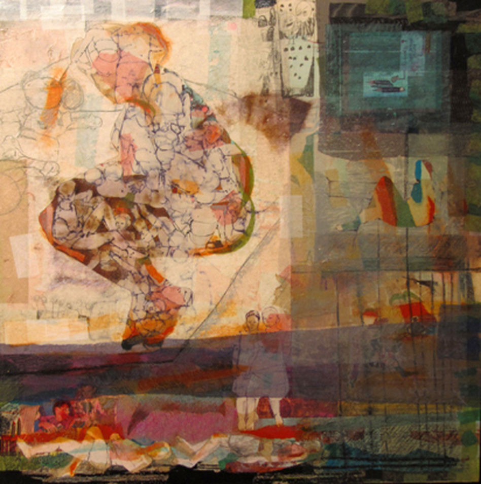 """""""I cared about what was happening around me, so I went to be with the people,"""" says Syrian artist Hiba Akkad. """"Whatever the people were doing, I wanted to be with them."""" Above, Akkad's 2012 mixed media on canvas work, <em>Untitled</em>. (Courtesy Galerie Tanit)"""