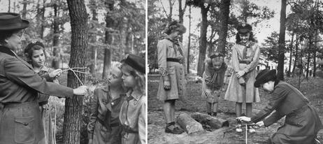 The first girl scout, Daisy Gordon Lawrence (left), demonstrates techniques like rope-tying and fire-making to young scouts in the late 1940s.