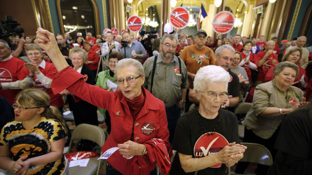 Iowans attend a marriage rally sponsored by The Family Leader on Tuesday at the Statehouse in Des Moines. The head of the organization says President Obama's endorsement of gay marriage could cost him the election. (AP)
