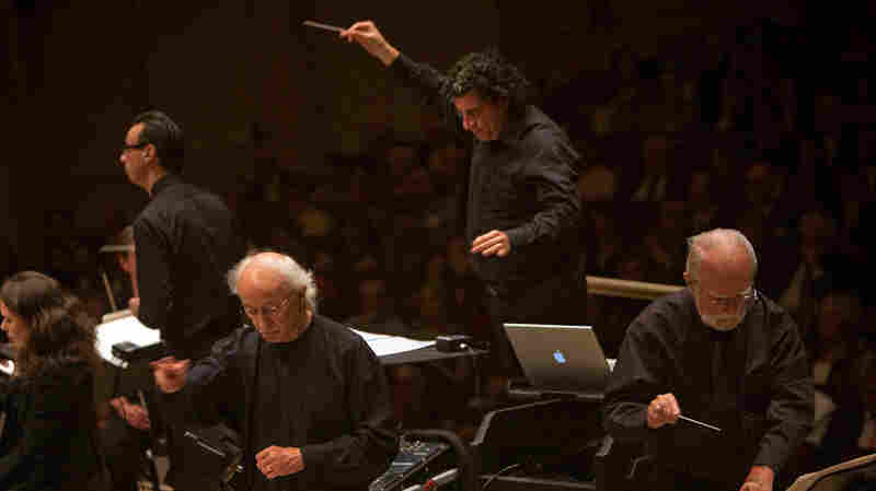 The Nashville Symphony with Music Director Giancarlo Guerrero (center) during Spring For Music at Carnegie Hall in Manhattan, New York on May 12, 2012.