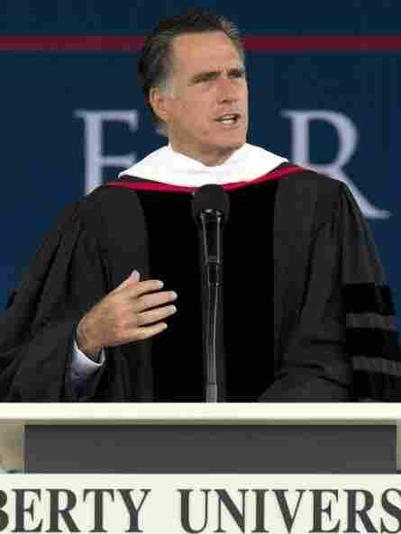 Republican presidential hopeful Mitt Romney speaks to graduates Saturday at Liberty University in Lynchburg, Va.