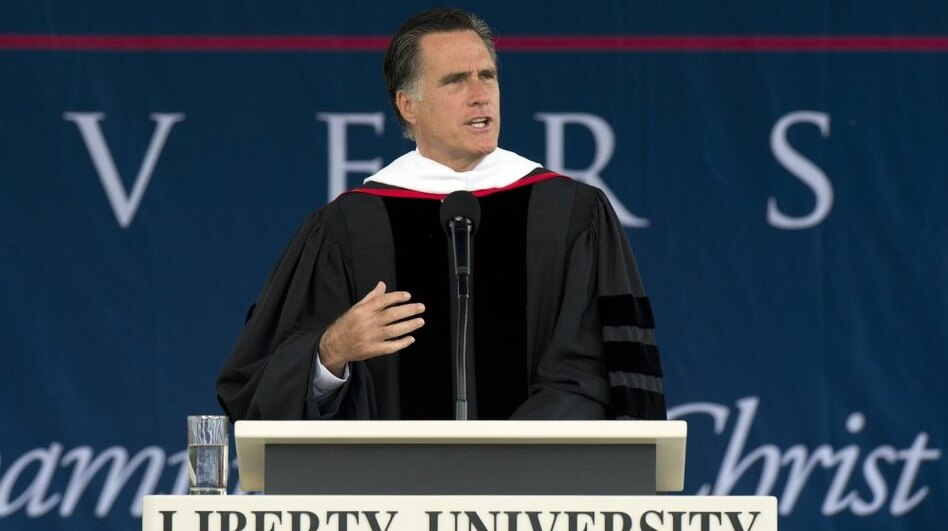 Republican presidential hopeful Mitt Romney speaks to graduates Saturday at Liberty University in Lynchburg, Va. (AFP/Getty Images)