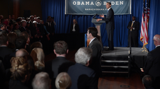 President Obama speaks during a campaign fundraiser Monday at the Rubin Museum of Art in New York City. The event, co-hosted by gay- and lesbian-rights leaders and a Latino nonprofit, featured singer Ricky Martin. (AFP/Getty Images)