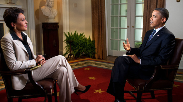 President Obama participates in an interview with Robin Roberts of ABC's Good Morning America in the White House on May 9. During the interview, Obama expressed his support for gay marriage, a first for a U.S. president. (Getty Images)