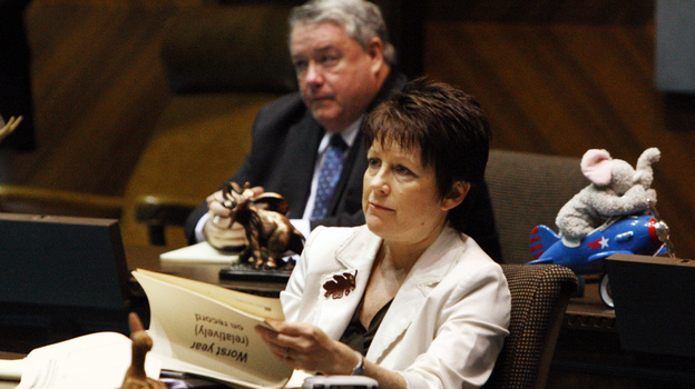 "Arizona state Sen. Nancy Barto, R-Phoenix, listens during a special budget briefing at the state Capitol in October 2008. Barto sponsored a new law that prohibits wrongful birth lawsuits. She says the bill ""sends the message that all life is worth protecting."" (AP)"