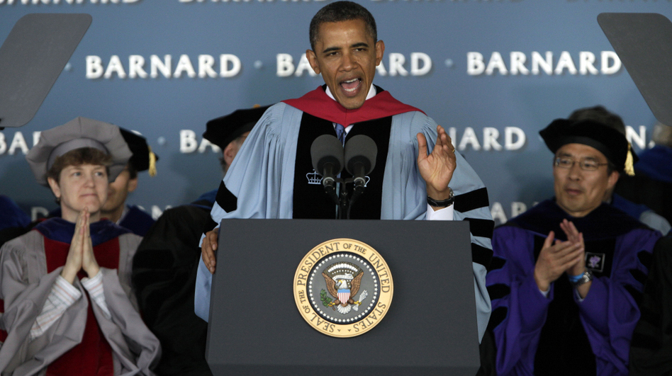 President Obama delivers the commencement address at Barnard College in New York on Monday. (AP)