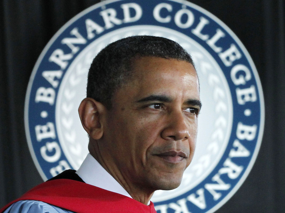 President Obama delivers the commencement address Monday at Barnard College in New York.