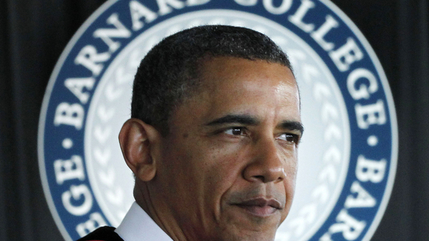 President Obama delivers the commencement address Monday at Barnard College in New York. (AP)