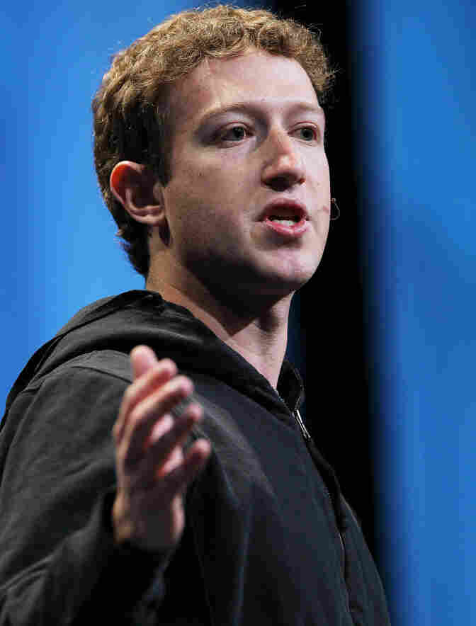 Facebook founder and CEO Mark Zuckerberg, in black hoodie.