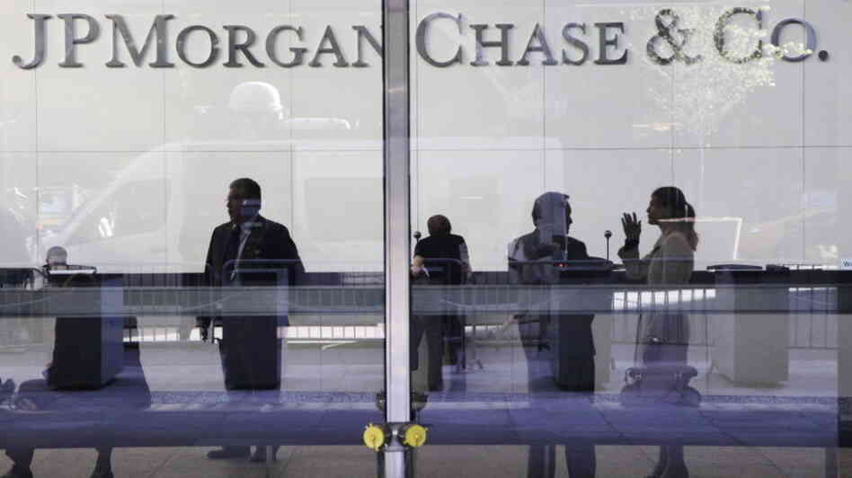 The lobby of JPMorgan Chase headquarters in New York.