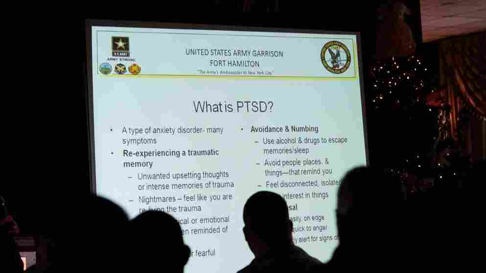 The U.S. military is trying to encourage service members and veterans to seek treatment for post-traumatic stress disorder. The military is also seeking to remove any sense of stigma for receiving treatment. Here, military personnel attend a presentation on PTSD at Fort Hamilton Army Garrison in Brooklyn, N.Y., in 2009.